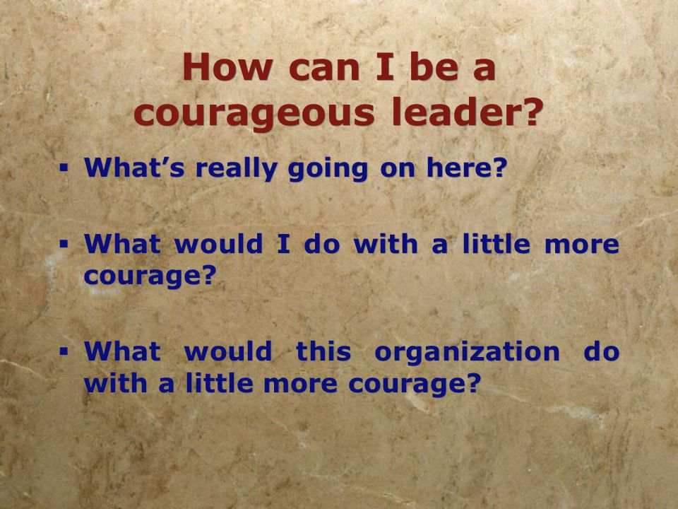 How can I be a courageous leader.  I have everything I need.