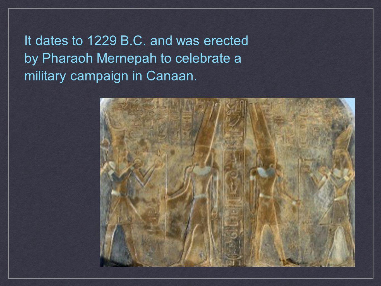 It dates to 1229 B.C.