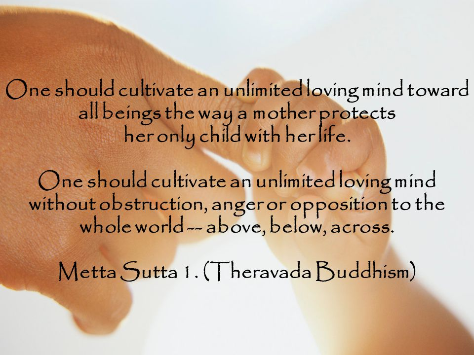 One should cultivate an unlimited loving mind toward all beings the way a mother protects her only child with her life.