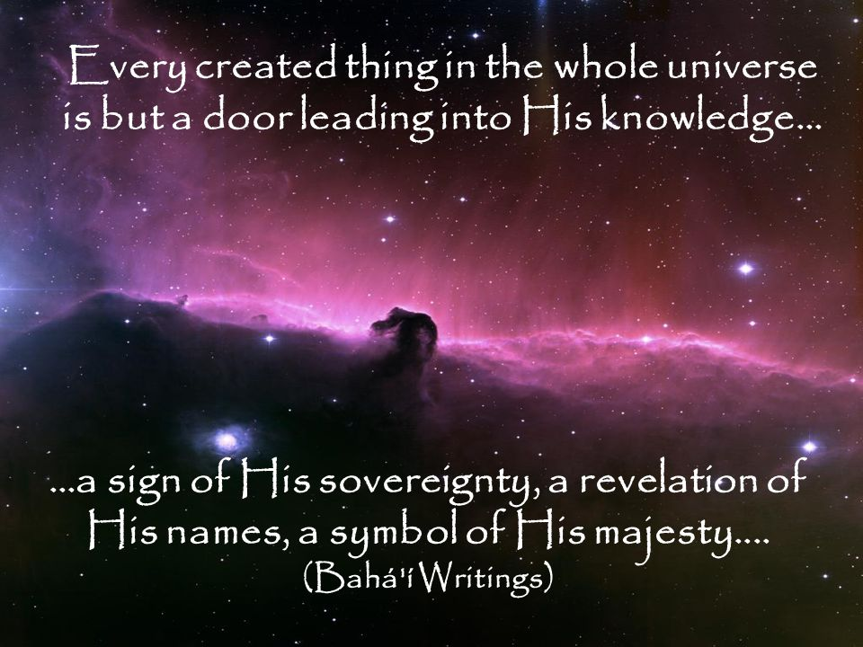 Every created thing in the whole universe is but a door leading into His knowledge… …a sign of His sovereignty, a revelation of His names, a symbol of His majesty....