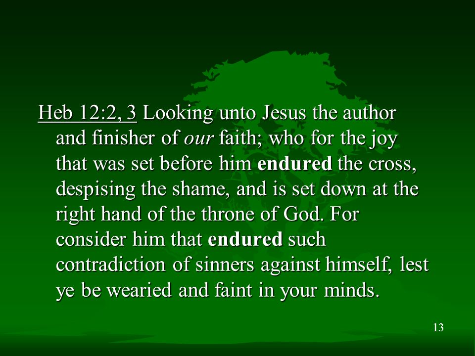 13 Heb 12:2, 3 Looking unto Jesus the author and finisher of our faith; who for the joy that was set before him endured the cross, despising the shame