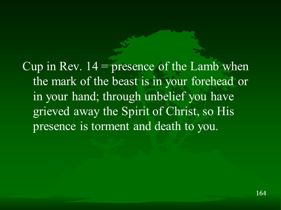 164 Cup in Rev. 14 = presence of the Lamb when the mark of the beast is in your forehead or in your hand; through unbelief you have grieved away the S