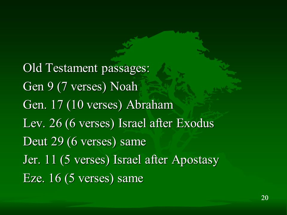20 Old Testament passages: Gen 9 (7 verses) Noah Gen.