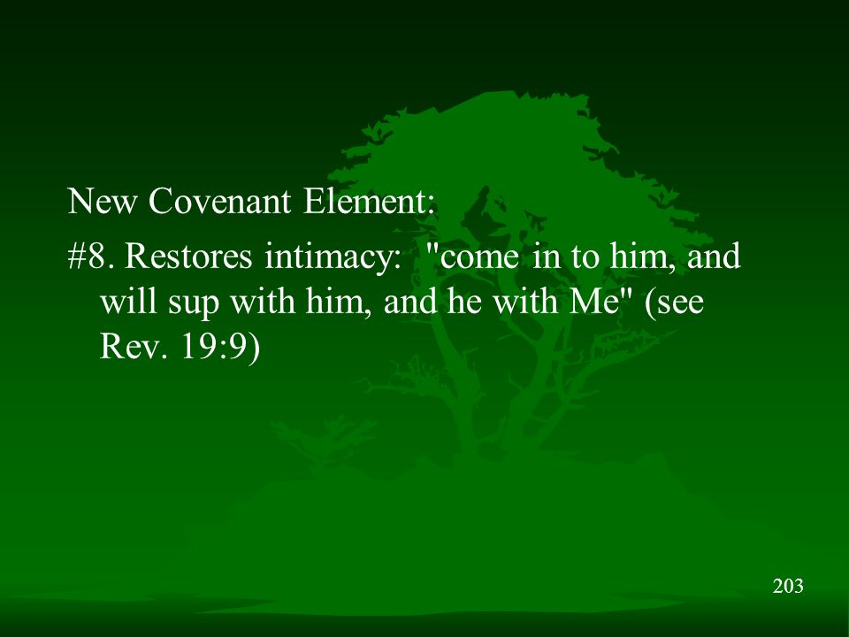 203 New Covenant Element: #8.