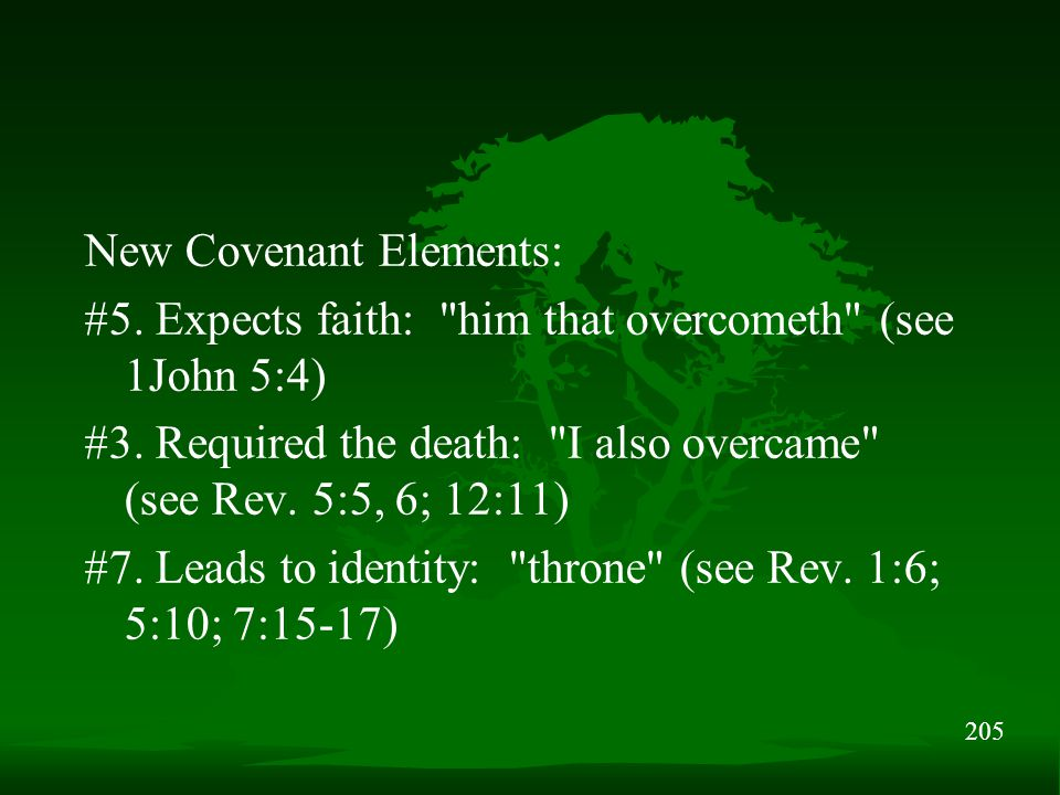 205 New Covenant Elements: #5. Expects faith: him that overcometh (see 1John 5:4) #3.