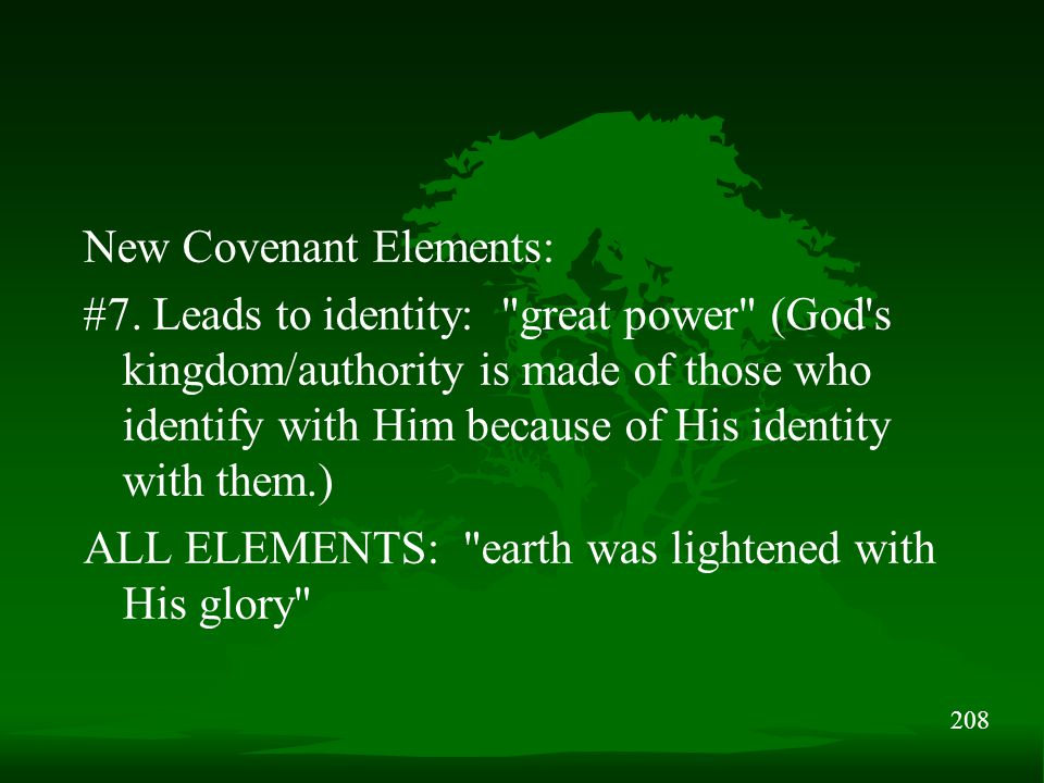 208 New Covenant Elements: #7. Leads to identity: