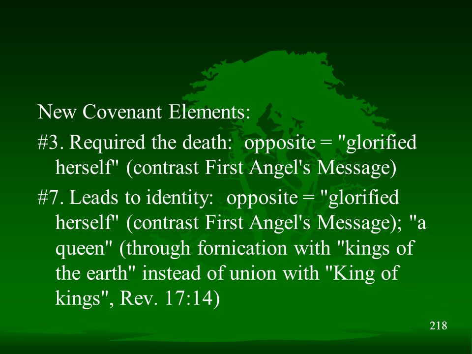 218 New Covenant Elements: #3. Required the death: opposite =
