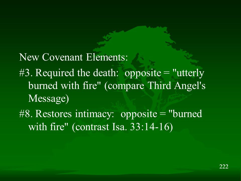 222 New Covenant Elements: #3. Required the death: opposite =
