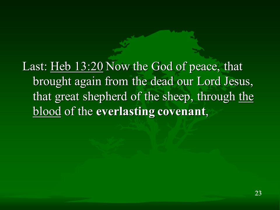 23 Last: Heb 13:20 Now the God of peace, that brought again from the dead our Lord Jesus, that great shepherd of the sheep, through the blood of the e