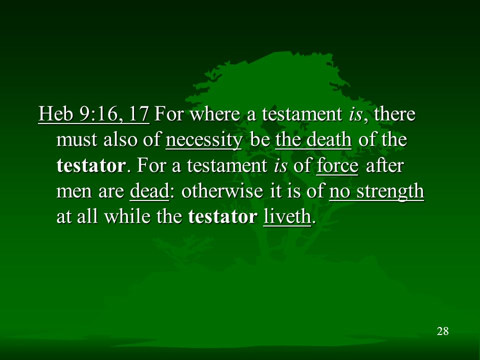 28 Heb 9:16, 17 For where a testament is, there must also of necessity be the death of the testator. For a testament is of force after men are dead: o