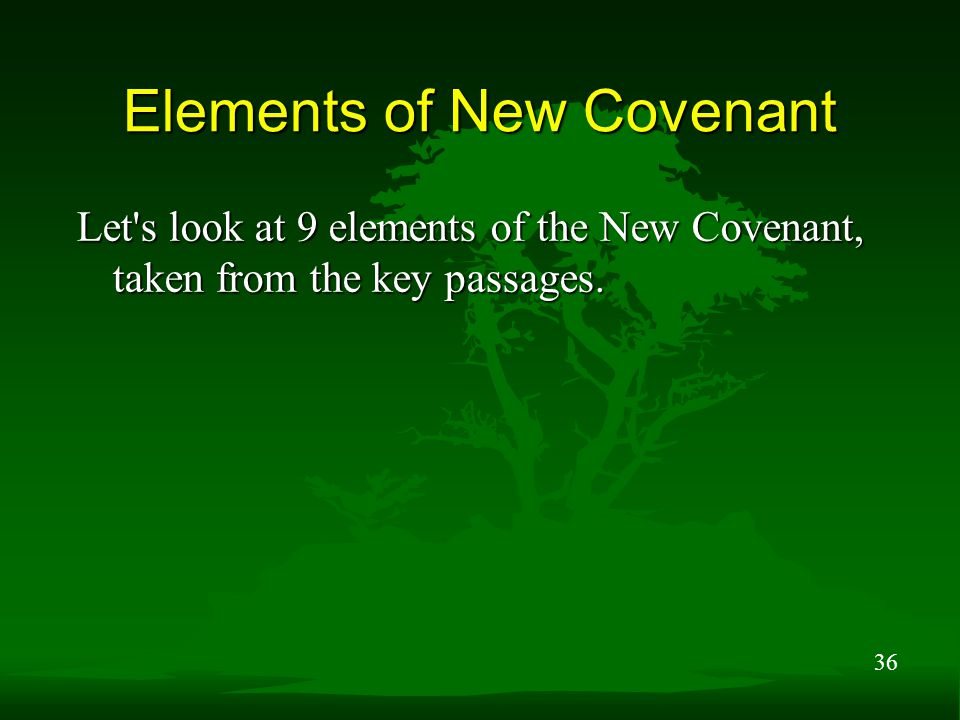 36 Elements of New Covenant Let s look at 9 elements of the New Covenant, taken from the key passages.