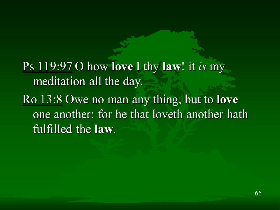 65 Ps 119:97 O how love I thy law! it is my meditation all the day. Ro 13:8 Owe no man any thing, but to love one another: for he that loveth another