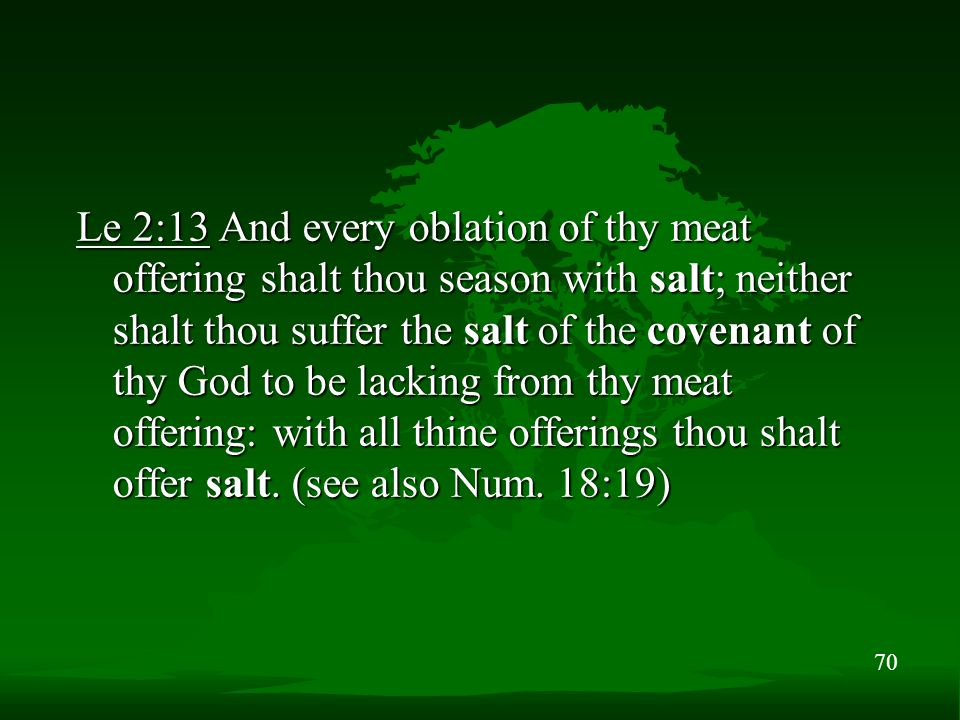 70 Le 2:13 And every oblation of thy meat offering shalt thou season with salt; neither shalt thou suffer the salt of the covenant of thy God to be la