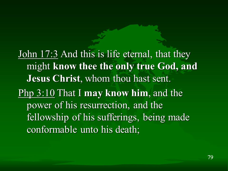 79 John 17:3 And this is life eternal, that they might know thee the only true God, and Jesus Christ, whom thou hast sent.