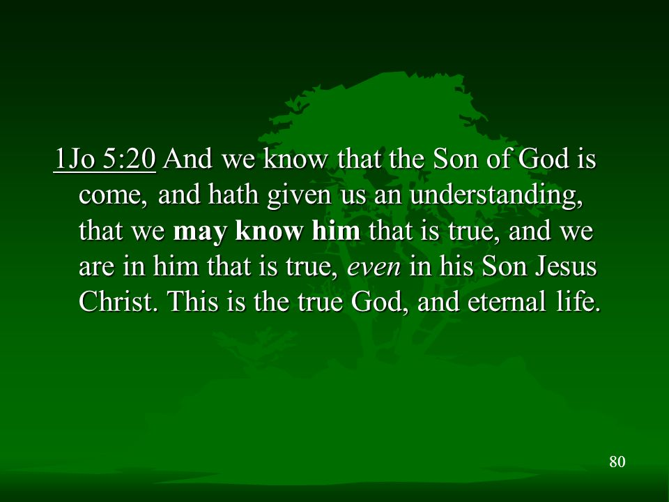 80 1Jo 5:20 And we know that the Son of God is come, and hath given us an understanding, that we may know him that is true, and we are in him that is true, even in his Son Jesus Christ.