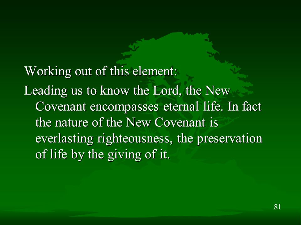 81 Working out of this element: Leading us to know the Lord, the New Covenant encompasses eternal life. In fact the nature of the New Covenant is ever