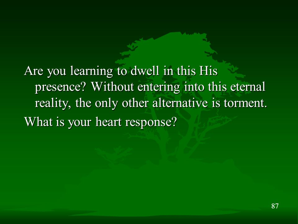 87 Are you learning to dwell in this His presence? Without entering into this eternal reality, the only other alternative is torment. What is your hea