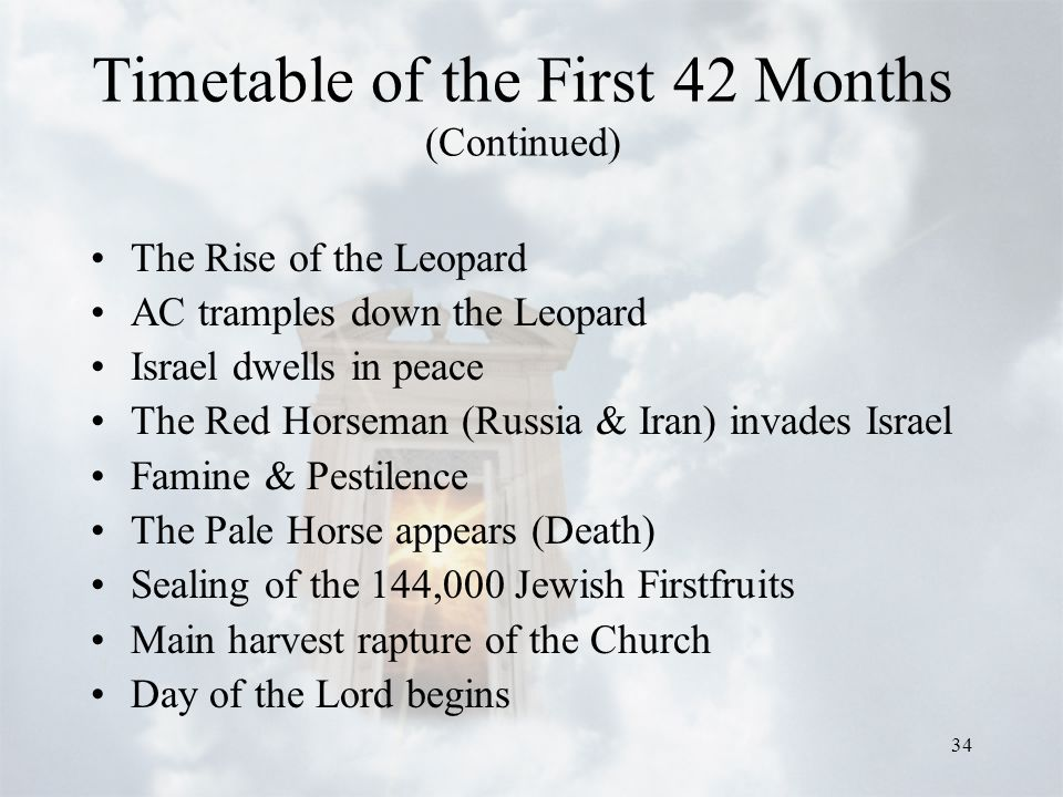 34 Timetable of the First 42 Months (Continued) The Rise of the Leopard AC tramples down the Leopard Israel dwells in peace The Red Horseman (Russia & Iran) invades Israel Famine & Pestilence The Pale Horse appears (Death) Sealing of the 144,000 Jewish Firstfruits Main harvest rapture of the Church Day of the Lord begins