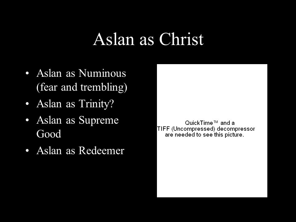 Aslan as Christ Aslan as Numinous (fear and trembling) Aslan as Trinity? Aslan as Supreme Good Aslan as Redeemer