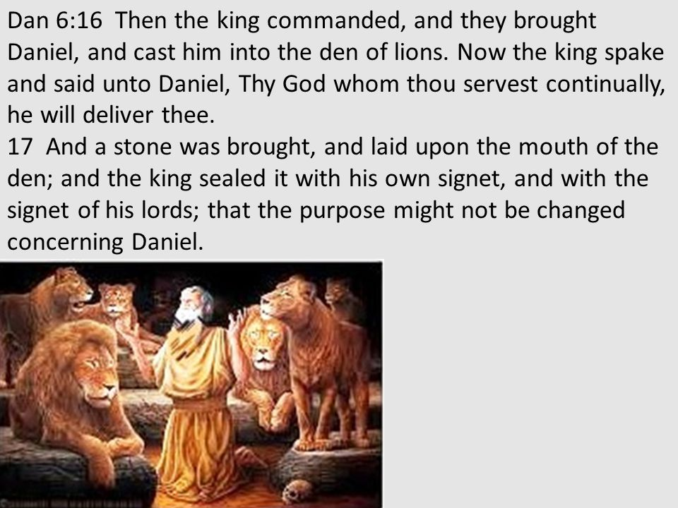 Dan 6:16 Then the king commanded, and they brought Daniel, and cast him into the den of lions.