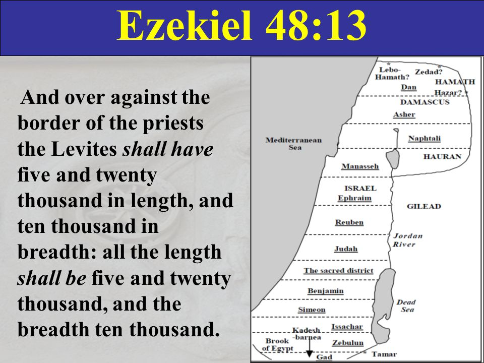 Ezekiel 48:13 And over against the border of the priests the Levites shall have five and twenty thousand in length, and ten thousand in breadth: all the length shall be five and twenty thousand, and the breadth ten thousand.