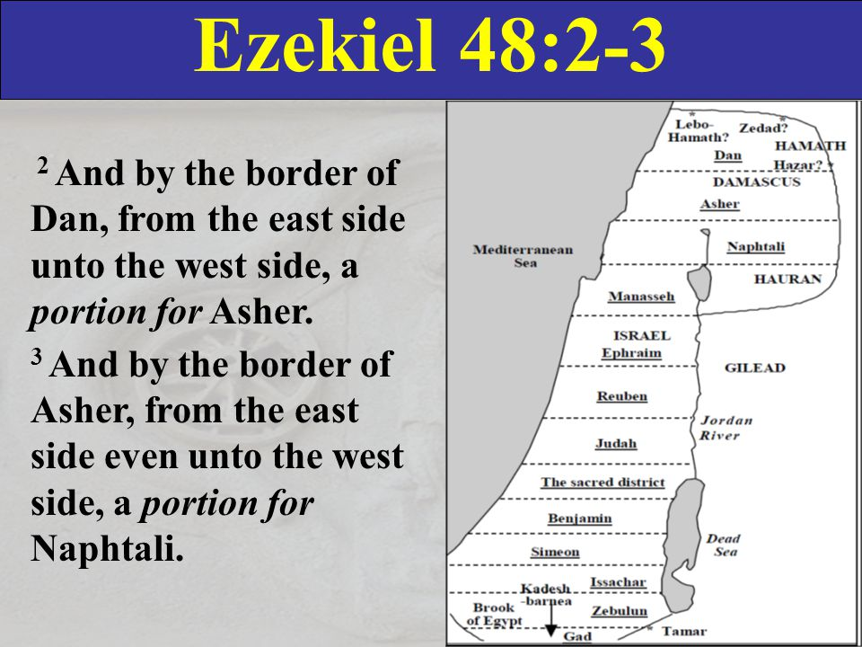 Ezekiel 48:4-5 4 And by the border of Naphtali, from the east side unto the west side, a portion for Manasseh.