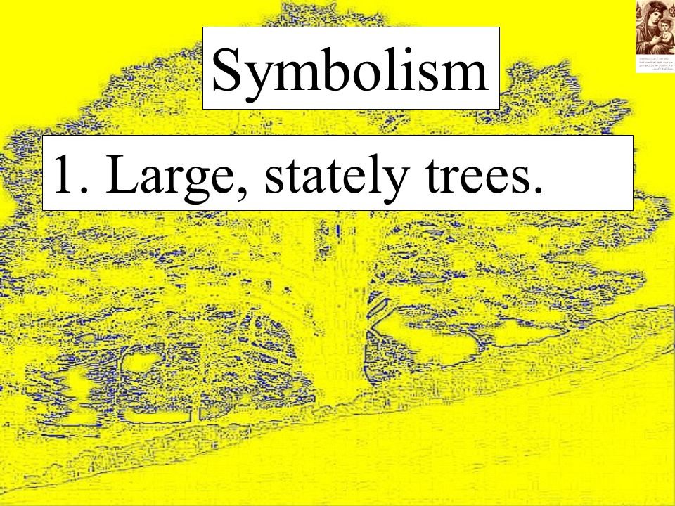 1. Large, stately trees. Symbolism