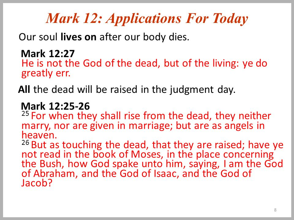 Mark 12: Applications For Today Our soul lives on after our body dies.