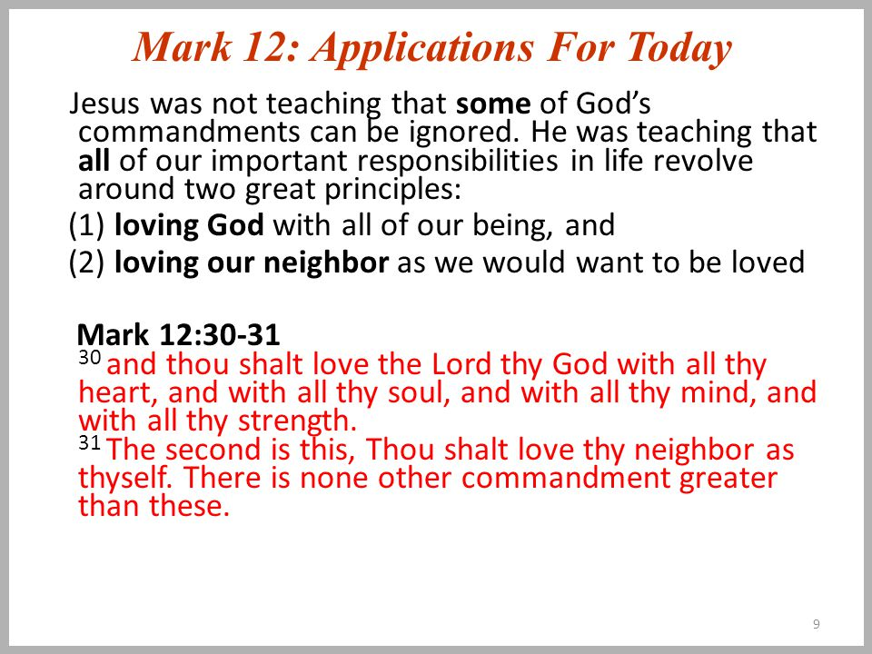 Mark 12: Applications For Today Jesus is not just a man, he is Lord God.