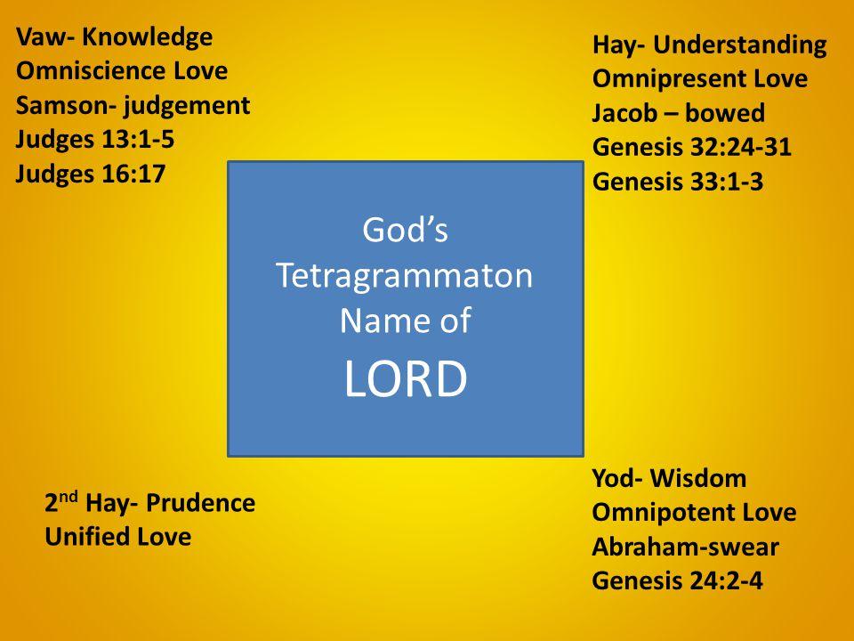 Yod- Wisdom Omnipotent Love Abraham-swear Genesis 24:2-4 Hay- Understanding Omnipresent Love Jacob – bowed Genesis 32:24-31 Genesis 33:1-3 Vaw- Knowledge Omniscience Love Samson- judgement Judges 13:1-5 Judges 16:17 2 nd Hay- Prudence Unified Love God's Tetragrammaton Name of LORD