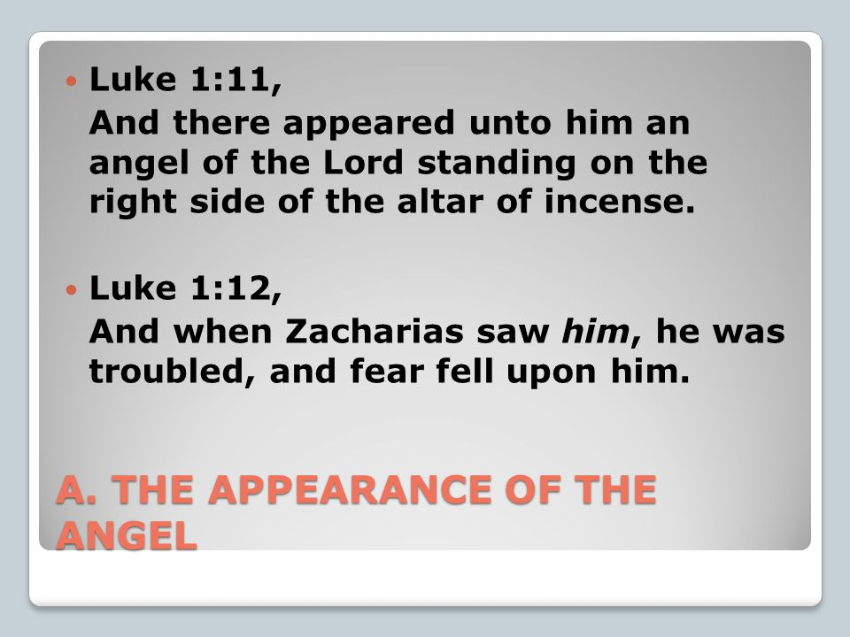 A. THE APPEARANCE OF THE ANGEL Luke 1:11, And there appeared unto him an angel of the Lord standing on the right side of the altar of incense. Luke 1: