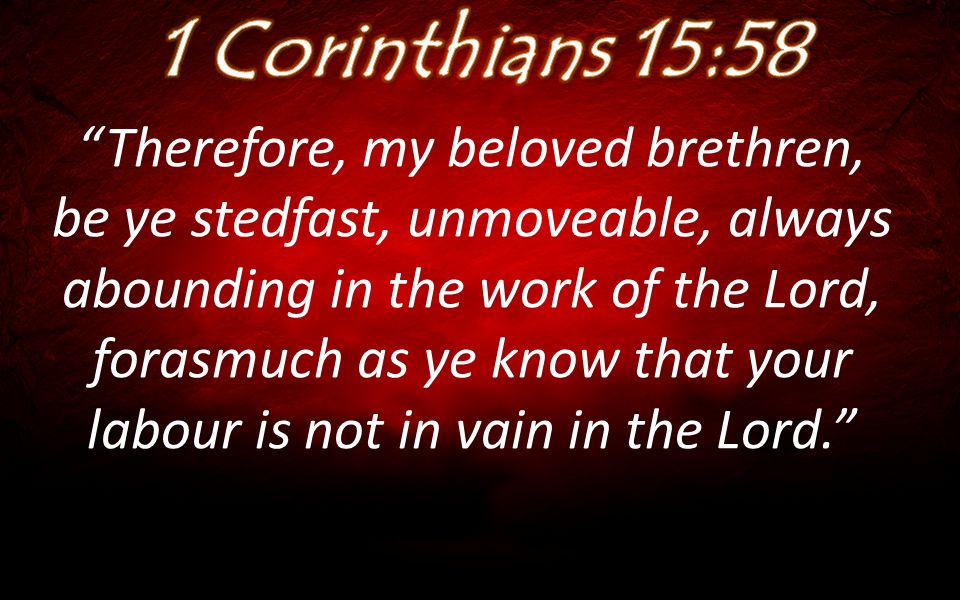 """Therefore, my beloved brethren, be ye stedfast, unmoveable, always abounding in the work of the Lord, forasmuch as ye know that your labour is not in"
