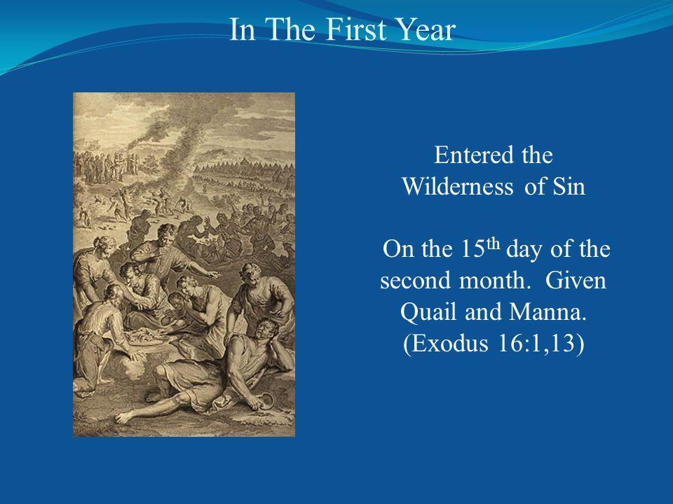 In The First Year Entered the Wilderness of Sin On the 15 th day of the second month.