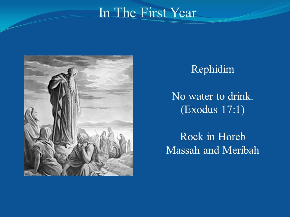 In The First Year Rephidim No water to drink. (Exodus 17:1) Rock in Horeb Massah and Meribah