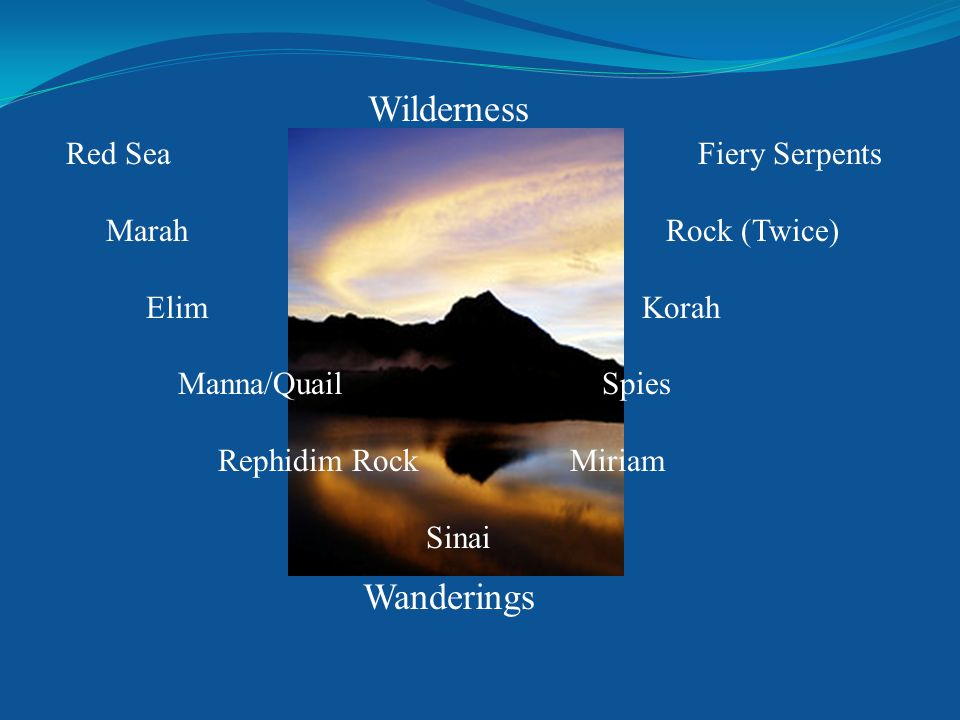 Wilderness Wanderings Red Sea Fiery Serpents Marah Rock (Twice) Elim Korah Manna/Quail Spies Rephidim Rock Miriam Sinai