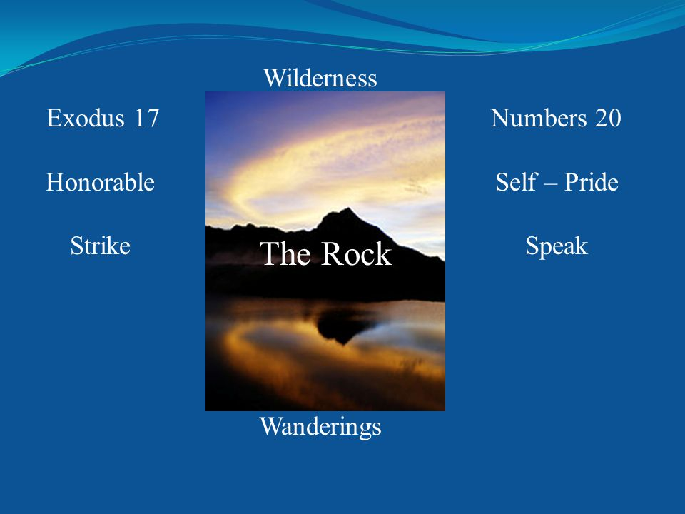 Exodus 17 Honorable Strike Numbers 20 Self – Pride Speak Wilderness Wanderings The Rock
