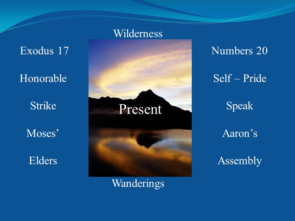 Exodus 17 Honorable Strike Moses' Elders Numbers 20 Self – Pride Speak Aaron's Assembly Wilderness Wanderings Present