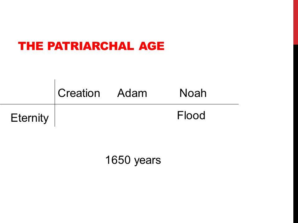 THE PATRIARCHAL AGE Eternity CreationAdamNoah Flood 1650 years