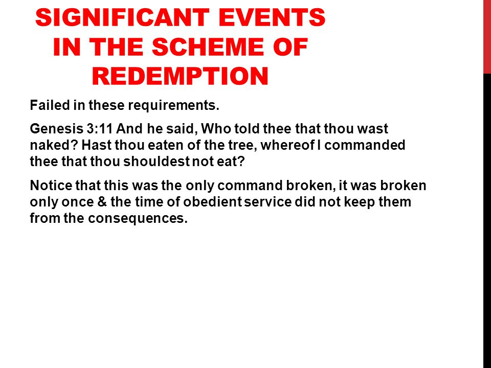 SIGNIFICANT EVENTS IN THE SCHEME OF REDEMPTION Failed in these requirements.