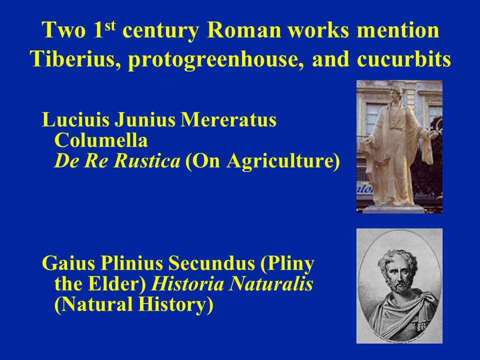 Two 1 st century Roman works mention Tiberius, protogreenhouse, and cucurbits Luciuis Junius Mereratus Columella De Re Rustica (On Agriculture) Gaius Plinius Secundus (Pliny the Elder) Historia Naturalis (Natural History)