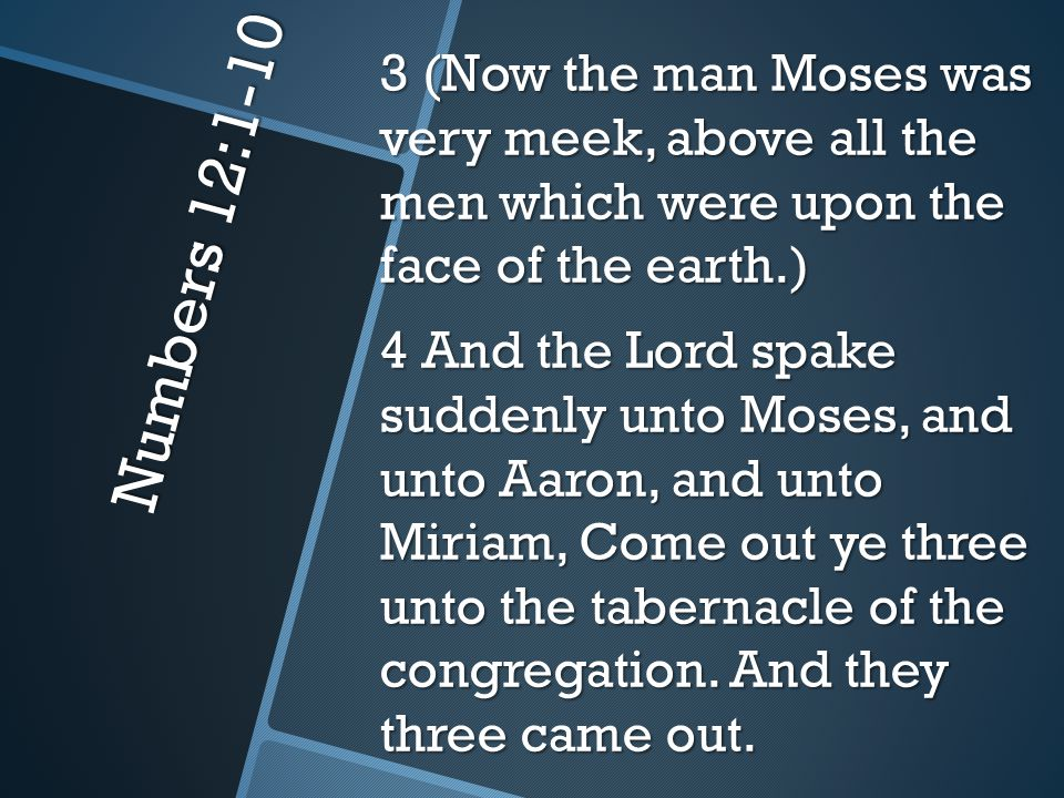 Numbers 12:1-10 5 And the Lord came down in the pillar of the cloud, and stood in the door of the tabernacle, and called Aaron and Miriam: and they both came forth.