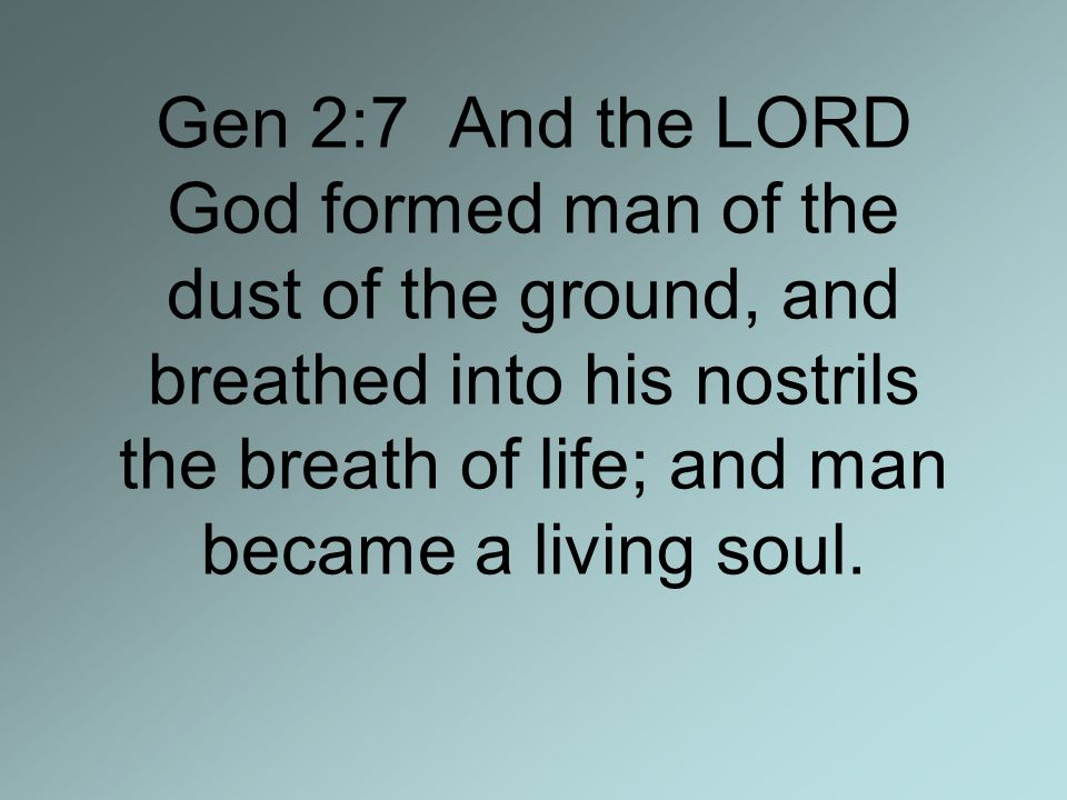 Gen 2:7 And the LORD God formed man of the dust of the ground, and breathed into his nostrils the breath of life; and man became a living soul.