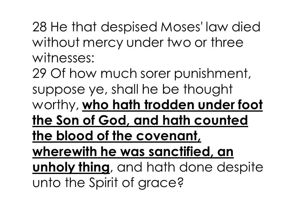28 He that despised Moses law died without mercy under two or three witnesses: 29 Of how much sorer punishment, suppose ye, shall he be thought worthy, who hath trodden under foot the Son of God, and hath counted the blood of the covenant, wherewith he was sanctified, an unholy thing, and hath done despite unto the Spirit of grace