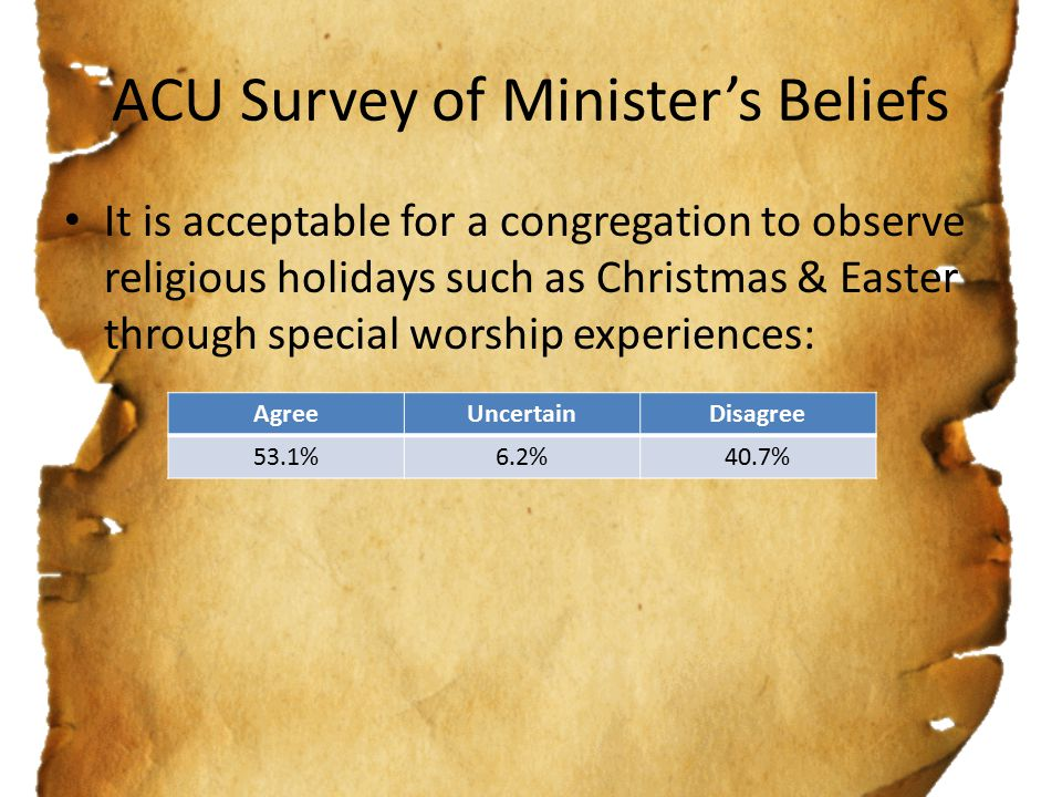 ACU Survey of Minister's Beliefs It is acceptable for a congregation to observe religious holidays such as Christmas & Easter through special worship