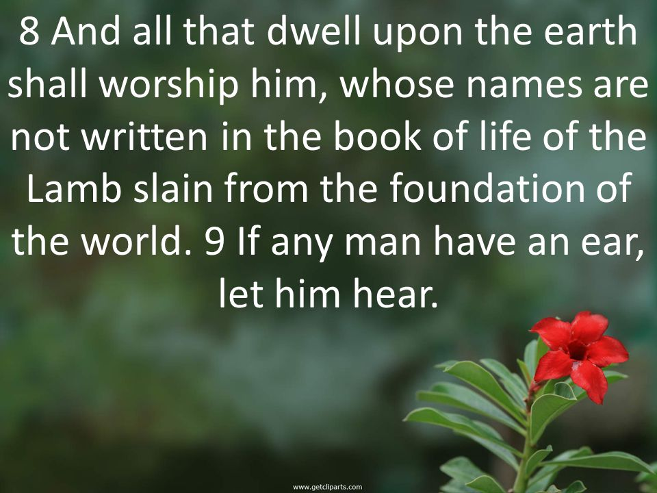 8 And all that dwell upon the earth shall worship him, whose names are not written in the book of life of the Lamb slain from the foundation of the world.