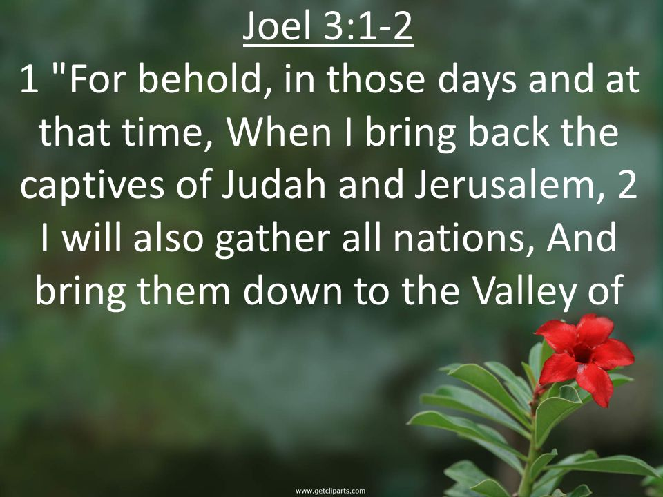 Joel 3:1-2 1 For behold, in those days and at that time, When I bring back the captives of Judah and Jerusalem, 2 I will also gather all nations, And bring them down to the Valley of