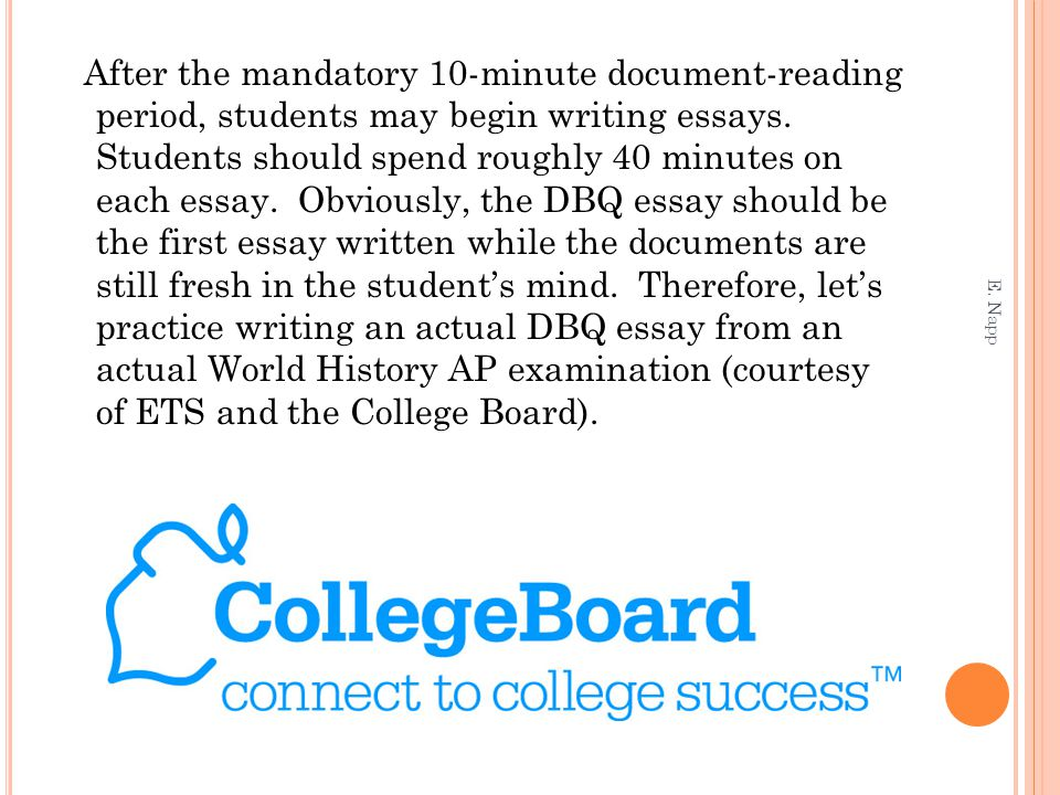 After the mandatory 10-minute document-reading period, students may begin writing essays.