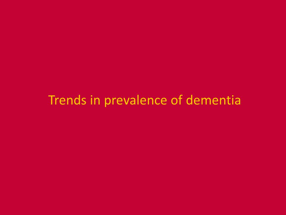 Trends in prevalence of dementia