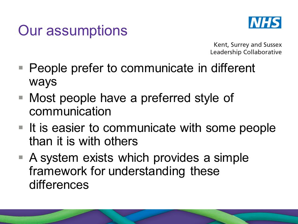 Our assumptions  People prefer to communicate in different ways  Most people have a preferred style of communication  It is easier to communicate w