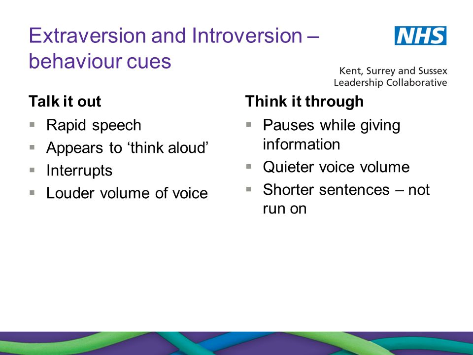 Extraversion and Introversion – behaviour cues Talk it out  Rapid speech  Appears to 'think aloud'  Interrupts  Louder volume of voice Think it th